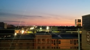 Sunrise over New Orleans from a parking garage roof. Not too shabby.